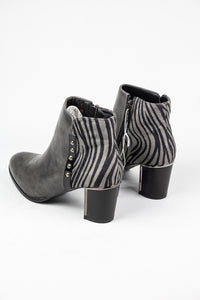 Lotus Rebel | Zip Ankle Boot with Striped Detailing