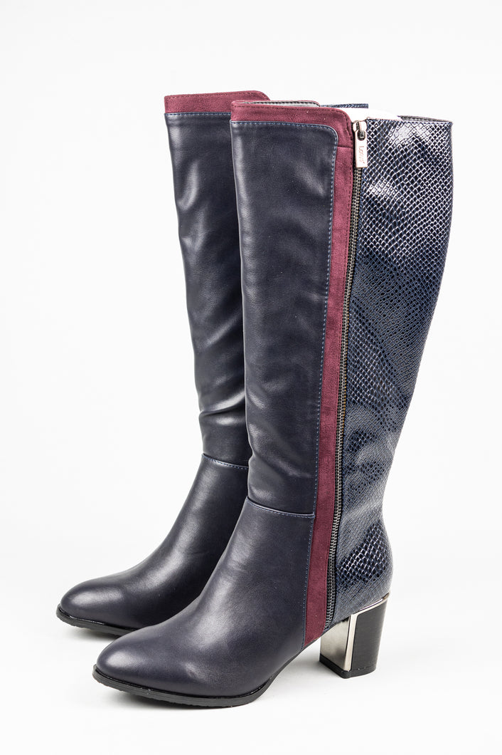 Lotus Gabrielle | Knee High Boots with Contrast Block Heel