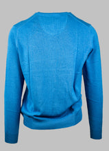 Load image into Gallery viewer, Fynch-Hatton 1221 211 Superfine 3-Ply Cotton V-Neck Jumper in Riverside Blue for sale online Ireland