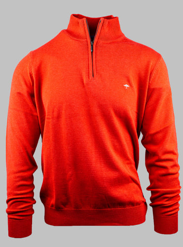 Fynch-Hatton 1221 215 Superfine 3-Ply Cotton Half Zip Jumper in Hibiscus for sale online Ireland