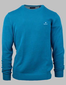 Gant Cotton Pique Crew Neck Knit in Dark Teal 8030521 460 for sale online Ireland
