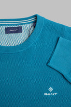 Load image into Gallery viewer, Gant Cotton Pique Crew Neck Knit in Dark Teal 8030521 460 for sale online Ireland