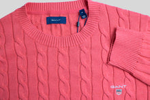 Load image into Gallery viewer, Gant Cotton Cable Crew Knit in Dark Pink Melange 8050501 696 for sale online Ireland