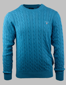 Gant Cotton Cable Crew Knit in Dark Teal 8050501 460 for sale online Ireland