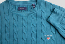 Load image into Gallery viewer, Gant Cotton Cable Crew Knit in Dark Teal 8050501 460 for sale online Ireland