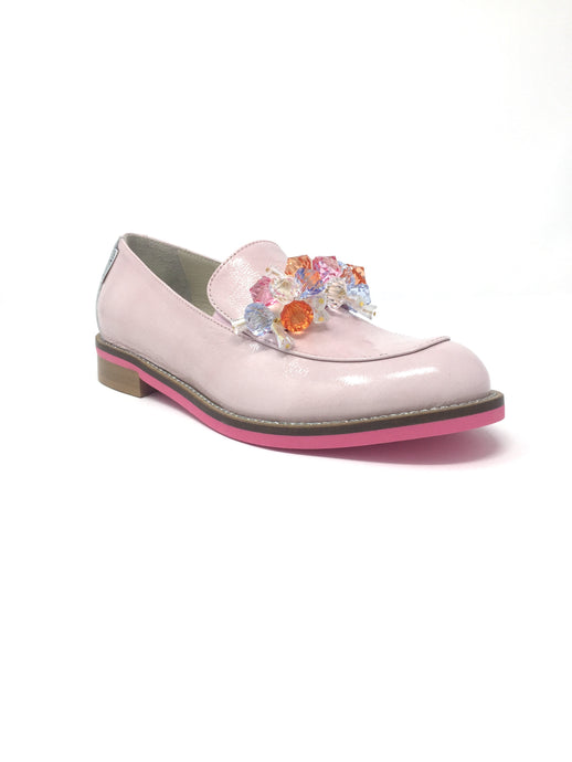 Pink Loafers With Diamond Detail