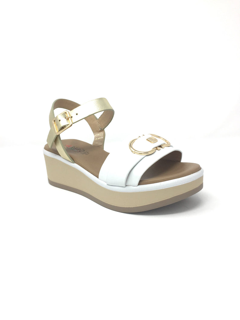 White/Gold Wedge Sandal with Buckle Design on Upper