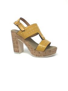 Gold Wedge Sandal with Stud Design