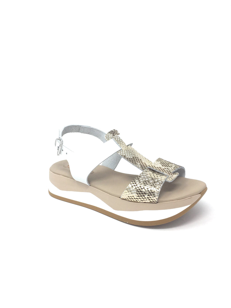 Wedge Sandal with Upper Snakeskin Design