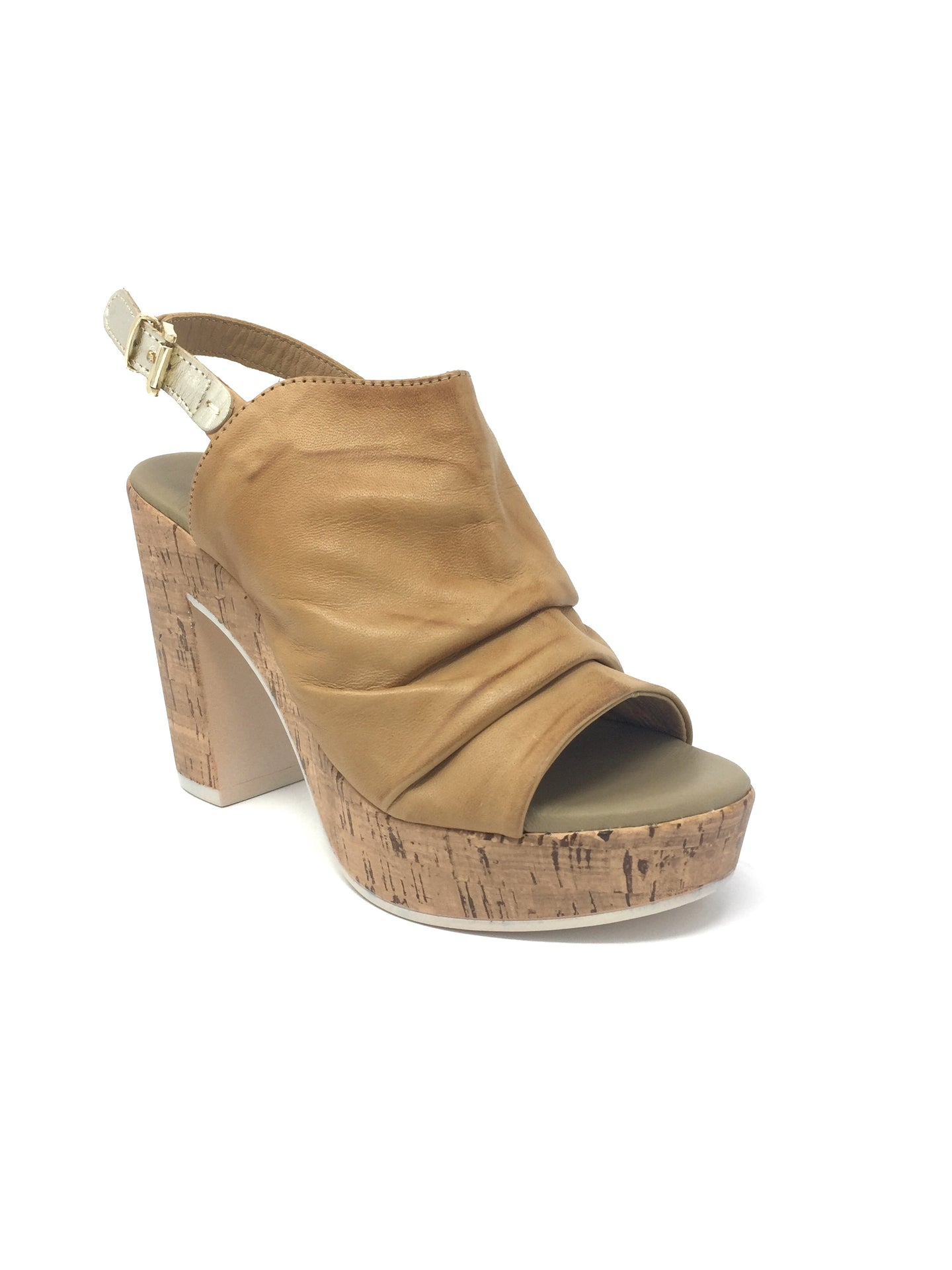 Beige Wedge Sandal with Fold Design Upper