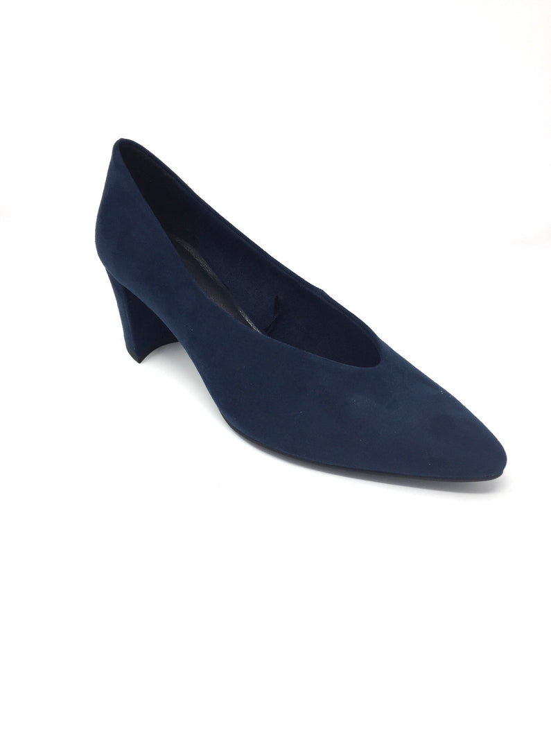 Navy Court Shoe with Slight Point Toe