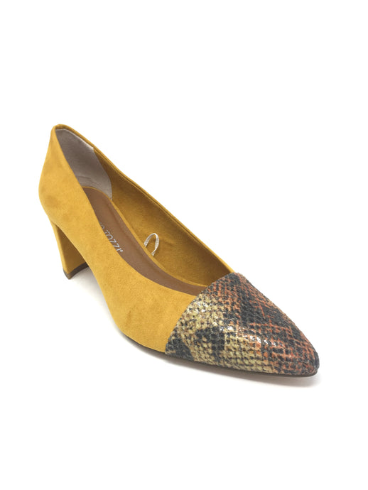 Yellow Court Shoe with Snakeskin Toe Design