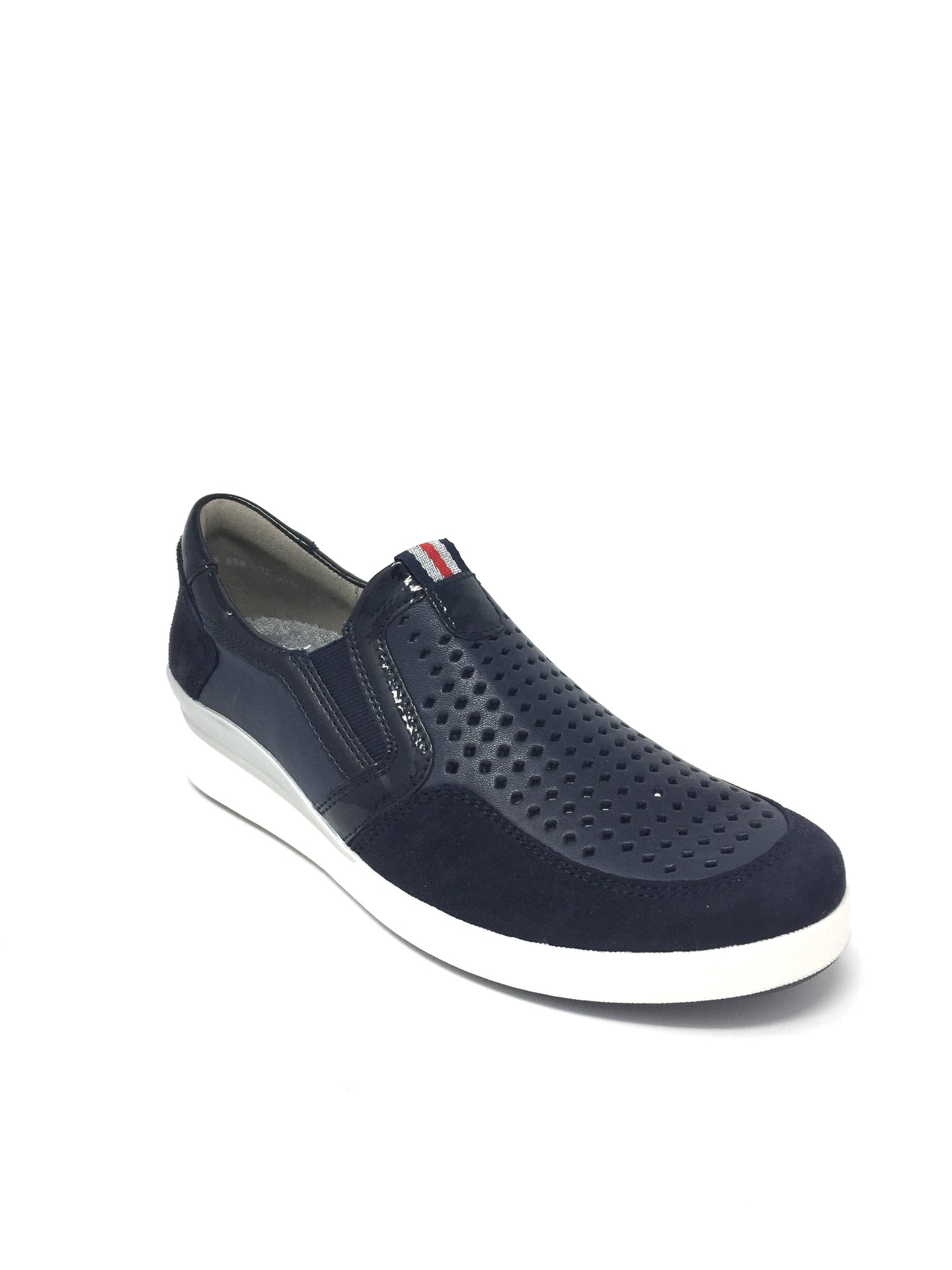 1233362 Ara Ladies Flat Walking Shoe with punched detail for sale online Ireland navy