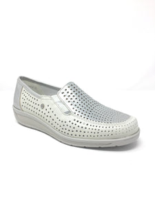 1236337 Ladies Walking Shoe with punched detail for sale online Ireland in white gold