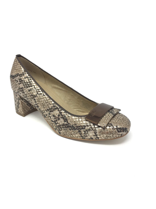 12.35512 Ara Cuban Block Heel Office Court Shoes for sale online ireland taupe snakeprint
