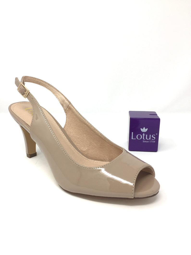 Nude Patent Zaria Sling-back Shoes