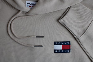 Tommy Jeans Badge Hoodie in Soft Beige DM0DM06593 ABM for sale online Ireland