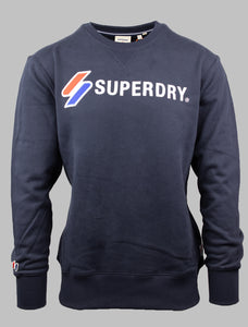 Superdry Navy Soft Cotton Applique Crew Sweatshirt M2011098A JKE for sale online Ireland