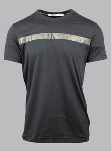 Calvin Klein J30J317165 BEH | Slim Fit Black Tee with Stripe Chest Logo