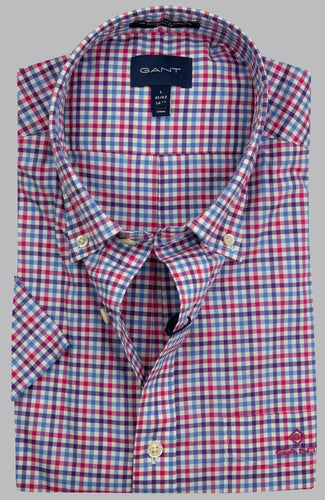 Gant Short Sleeve 3 Colour Gingham Short Sleeve Shirt 3060401 673 for sale online Ireland