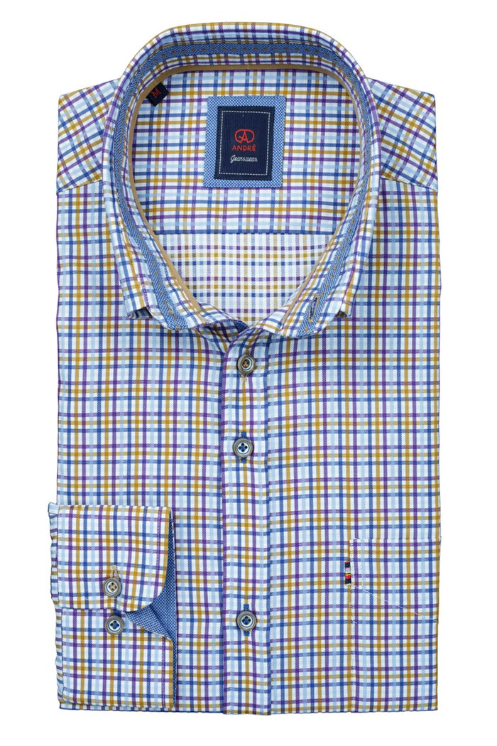 Andre Dawson | Purple, Blue & Taupe Check Shirt