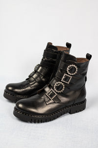 L163NANP Tessa Marco Moreo Black Leather Ankle Boots for sale online ireland