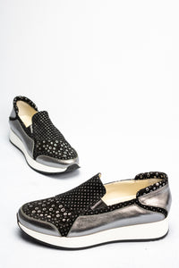 L182LFPN Marco Moreo Black and Silver Slip On Ladies Shoes for sale online ireland