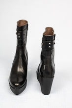 Load image into Gallery viewer, L211NANE Marco Moreo Black High Wedge Boots for sale online ireland