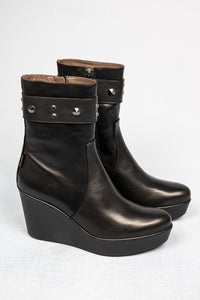 L211NANE Marco Moreo Black High Wedge Boots for sale online ireland