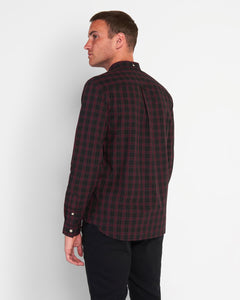Lyle & Scott LW1309V | Check Poplin Shirt in Burgundy & Navy