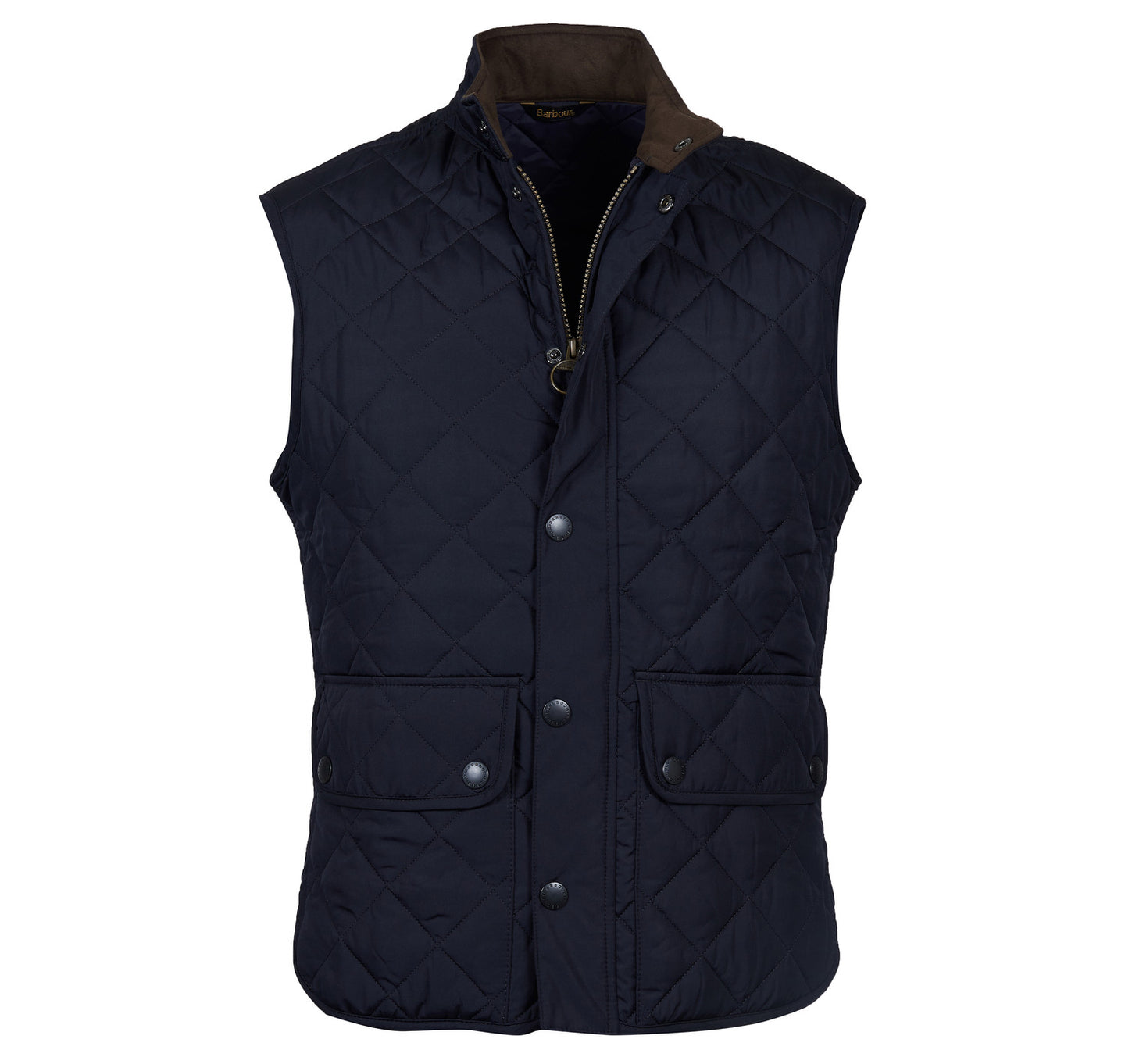 MGI0042NY71 Barbour International Men's Navy Gilet with Brown Collar for sale online ireland