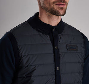 MKN0934NY94 Barbour International Navy Quilted Mens Gilet with stud buttons for sale online ireland