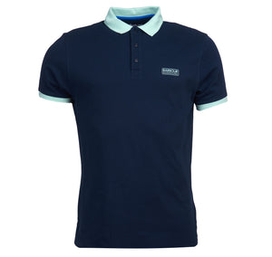 MML1059NY91 Barbour International Men's Contrast Polo Shirt for sale online ireland navy and green