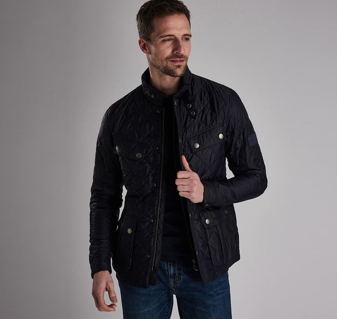 MQU0251NY91 Barbour International Men's Navy Quilted Jacket with flap pockets for sale online Ireland