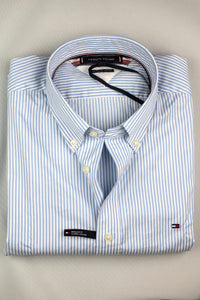 MW0MW13922 0A5 Tommy Hilfiger Classic Twill Stripe Short Sleeve Men's Shirt for sale online ireland