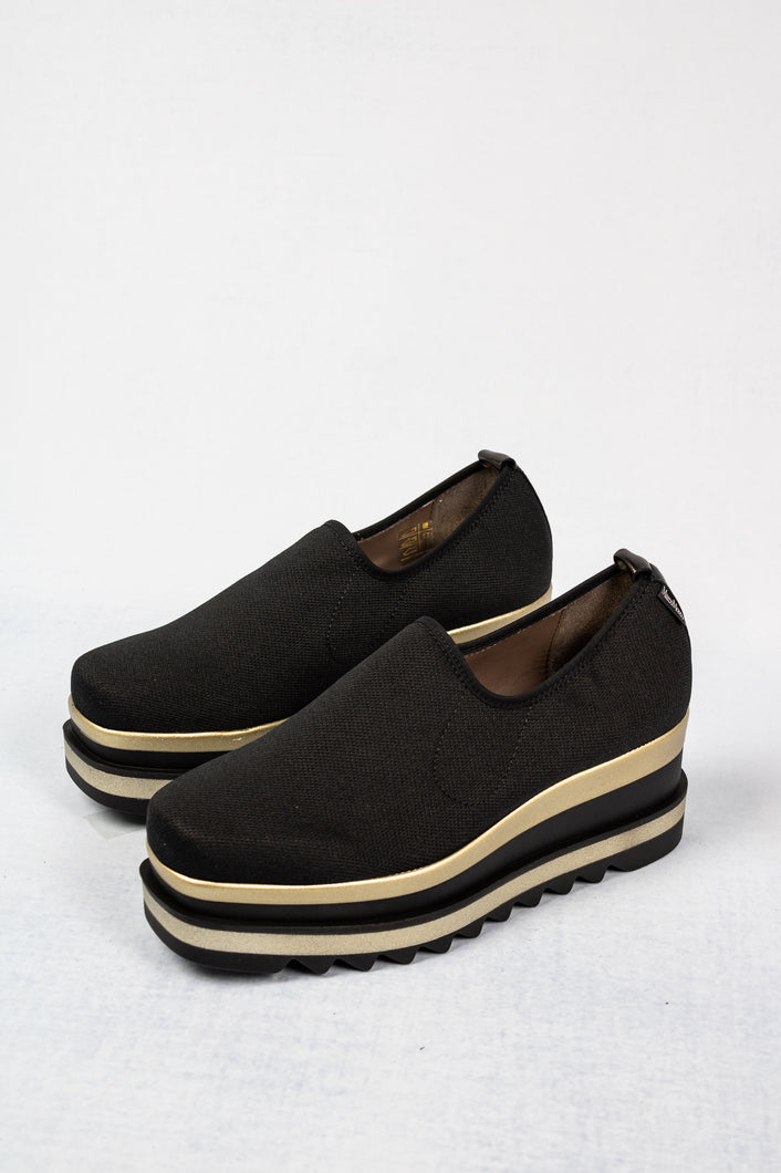 L190PNNN Marco Moreo Black and Gold Slip On Platform Ladies Shoes for sale online ireland