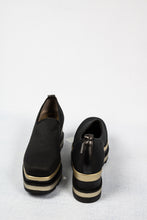 Load image into Gallery viewer, L190PNNN Marco Moreo Black and Gold Slip On Platform Ladies Shoes for sale online ireland