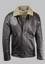 Load image into Gallery viewer, Palermo Milestone Leather Dark Brown Jacket with Fur Collar for sale online ireland
