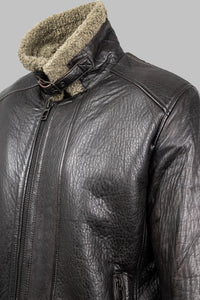 Palermo Milestone Leather Dark Brown Jacket with Fur Collar for sale online ireland
