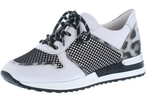 Black/White Combination Trainers with Animal Print