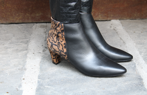 Wonders | Leather Ankle Boots Black & Leopard