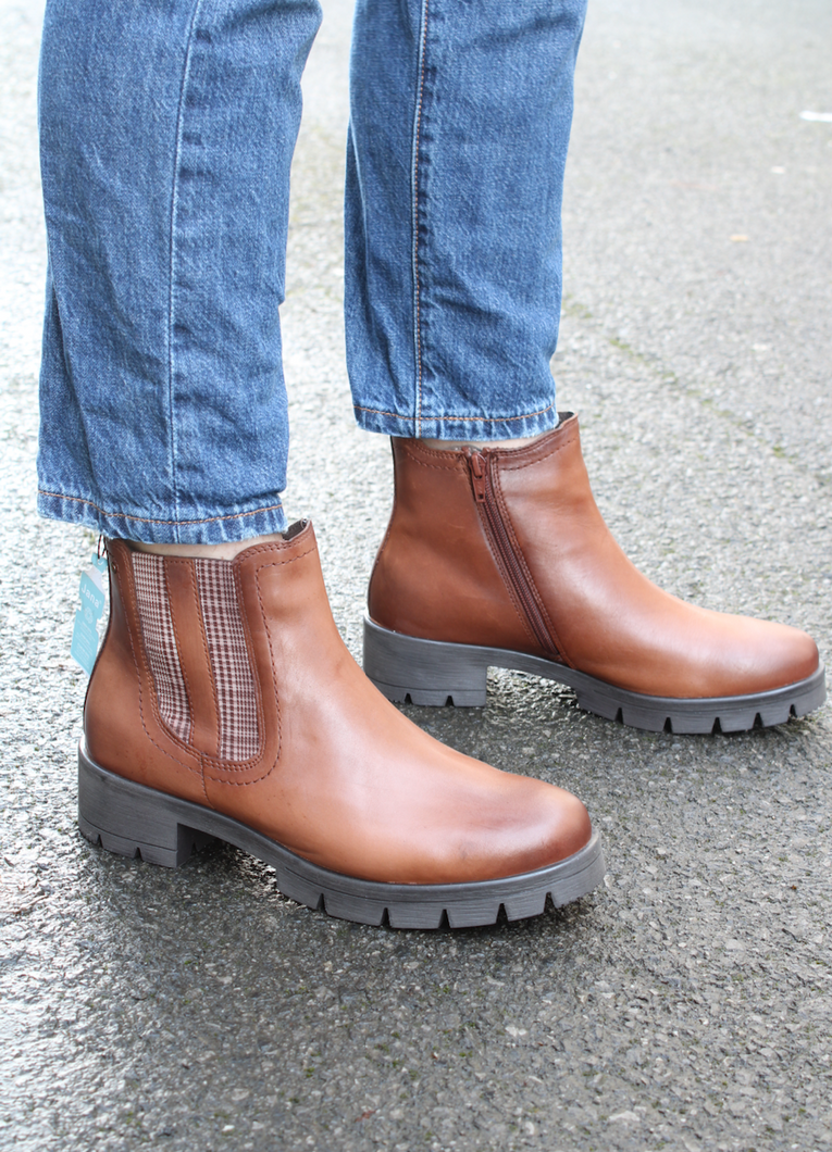 Jana 25414 | Zip Ankle Boots in Brown