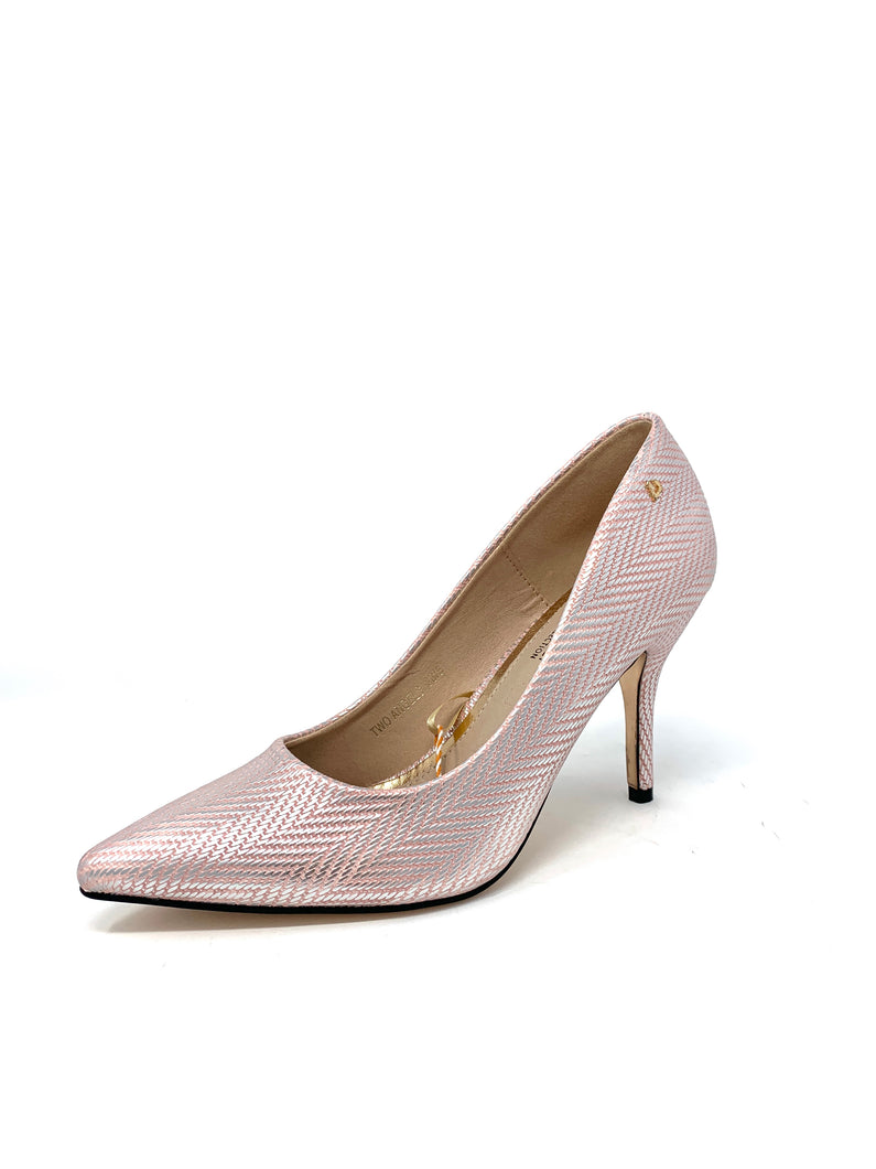 Two Angels | Una Healy Court Shoe in Pink & Silver shop online ireland