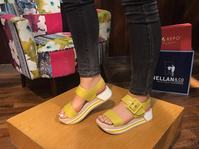 Yellow Wedge Sandal with Stripe Design Sole