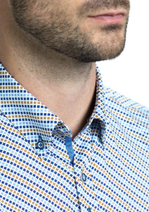 Andre Liffey | Beige & Blue Printed Shirt