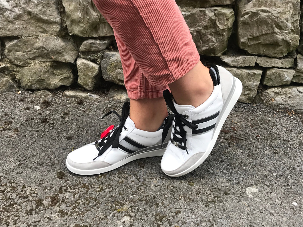 Ara | White Leather Upper Ladies Trainers with Stripe Contrast
