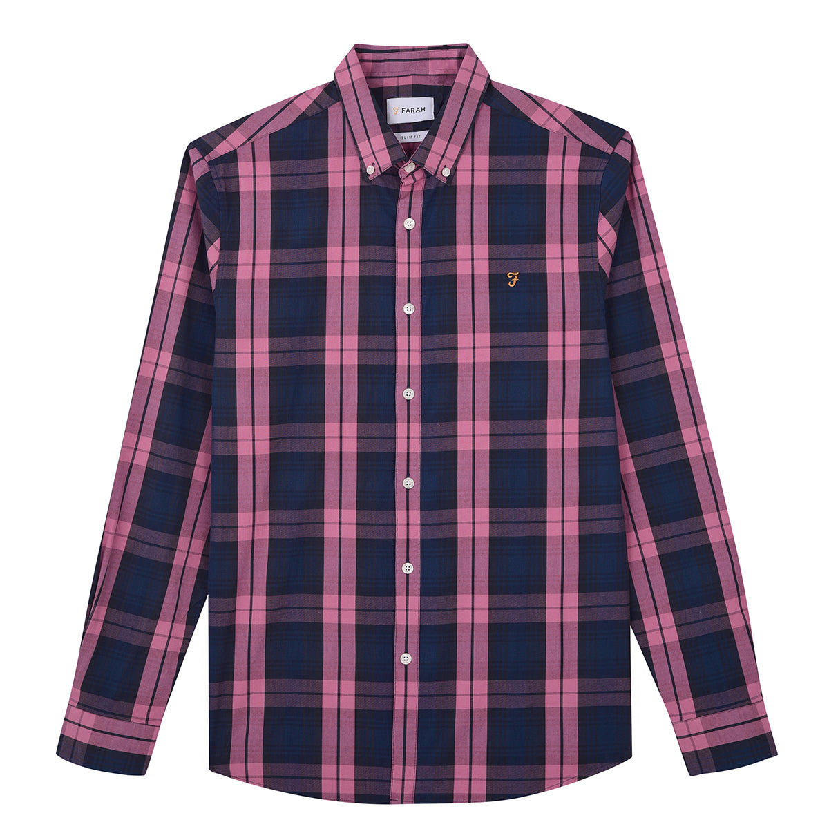 F4WF80C0 668 Farah Men's Slim Fit Check Shirt Tartan Dusty Rose for sale online ireland
