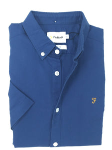 F4WS5074 400 Dusky Blue Farah Short Sleeve Men's Oxford Brewer Shirt stocked and for sale online ireland