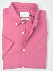 F4WS5074 668 Dusky Rose Farah Short Sleeve Men's Oxford Brewer Shirt stocked and for sale online ireland