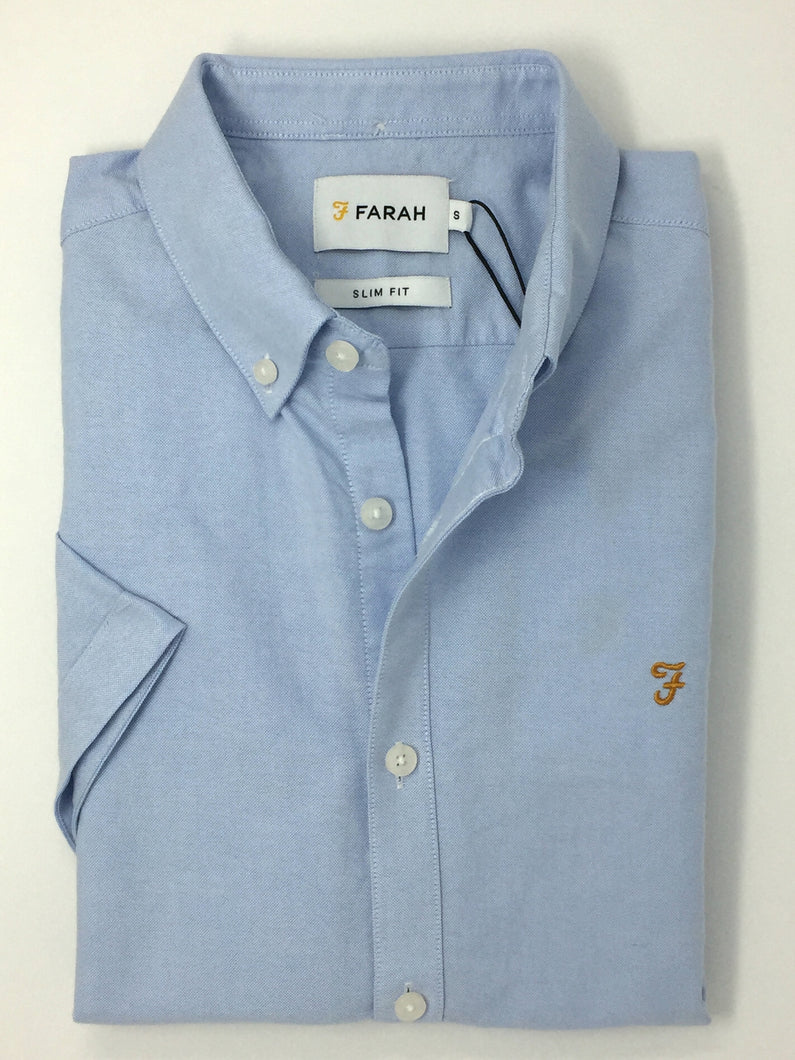 F4WS5074 468 Sky Blue Farah Short Sleeve Men's Oxford Brewer Shirt stocked and for sale online ireland